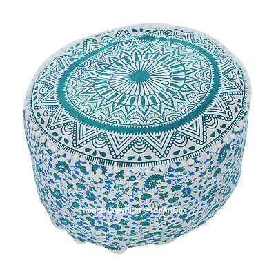Ombre Mandala Round Ottoman Pouf Cover Ethnic Indian Handmade Footstool Pouffe