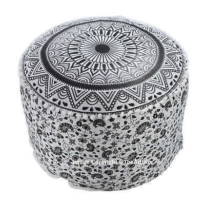 Indian Ombre Mandala Round Cotton Footstool Pouffe Cover Ethnic Ottoman Cover