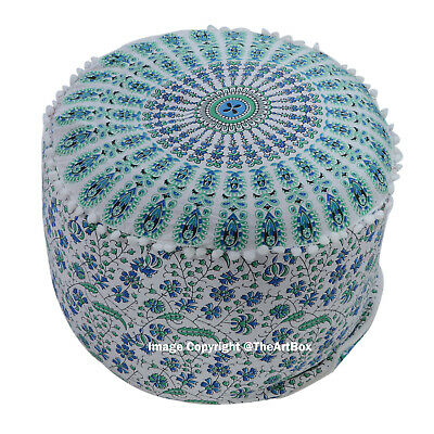Cotton Mandala Round Ottoman Pouf Cover Ethnic Indian Footstool Pouffe Cover Art
