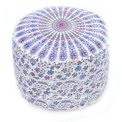 Indian Cotton Mandala Footstool Pouf Cover Ethnic Ottoman Pouf Cover Home Decor