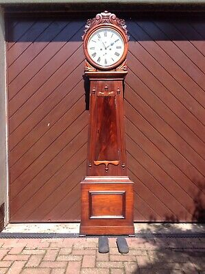 19th Century Mahogany Scottish Drumhead Grandfather Longcase Clock