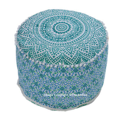 Indian Round Cotton Ombre Mandala Ottoman Pouf Cover Ethnic Footstool Pouffe Art