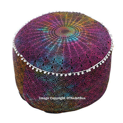 Cotton Mandala Round Ottoman Pouf Cover Ethnic Indian Footstool Pouffe Home Art