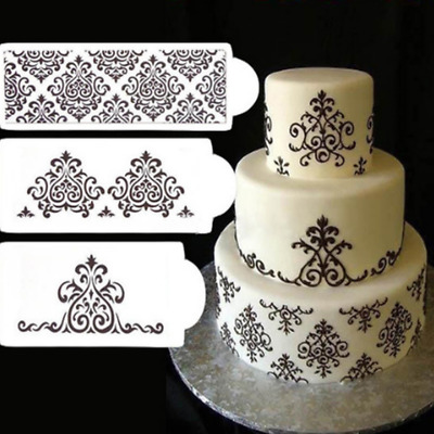 3x Damasco Fondant Cake Decorating Lace Stencil Mould Border Strumento Creative
