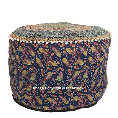 Indian Cotton Mandala Round Footstool Pouffe Cover Ethnic Ottoman Pouf Cover Art
