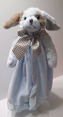 Bearington Bear Collection Lovey Dog Puppy Security Blanket Blue Brown Bow