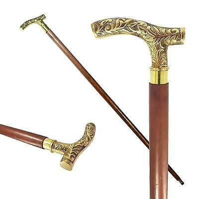 Brass Derby Head Handle Victorian Wooden Walking Stick Cane Antique Style Gift