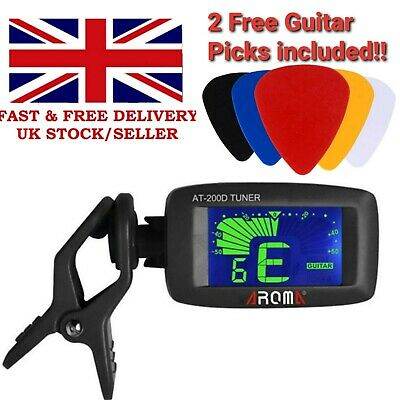 Chromatic LCD Clip On Tuner Electric Acoustic Guitar Bass Violin, Banjo, Ukulele