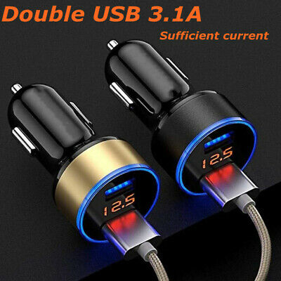 Portable 5V 3.1A Dual USB LED Digital Display Quick Charge Car Charger Adapter
