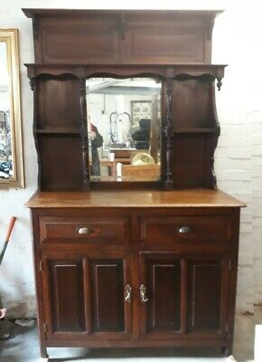 Antique Oak And Pine Mirror Back Buffet  Kitchen Dresser Shelves Drawers Cabinet