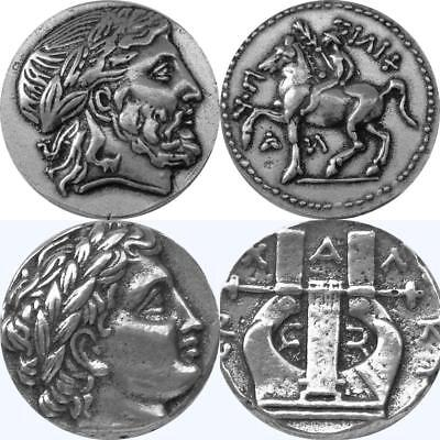 Zeus and His Son Apollo, Two Famous Greek Coins, Percy Jackson Fans (86+30-S)