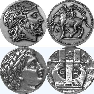 Zeus And His Son Apolo,Dos Famous Griego Monedas,Percy Jackson Fans (86 + 30-S)