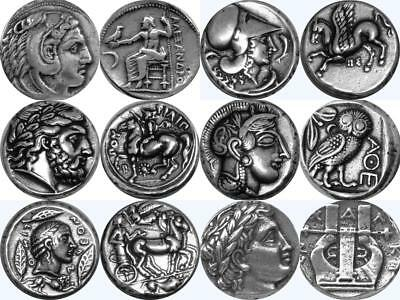 Alexander, Athena, Zeus and Apollo 6 Greek Coins, Percy Jackson Gift (6SET-S)