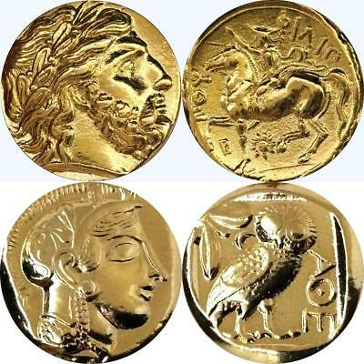 Zeus, King of the Gods and Athena & Owl, Greek Coins Percy Jackson Gift (4+12-G)