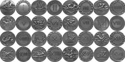 16 Erotic Roman Coins, Brothel Tokens Spintriae, Stocking Stuffer (16Spin-S)