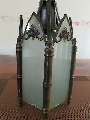 RARE and beautiful Arts and Crafts era Cathedral style Gothic hanging light!