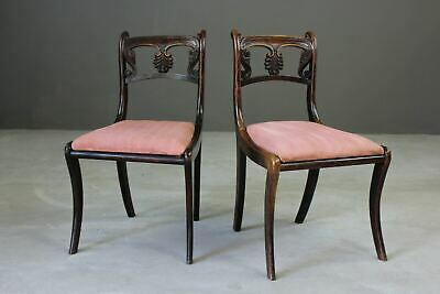 Pair Antique Early 19th Century Simulated Rosewood Dining Chairs