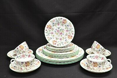 Minton Haddon Hall B1451 Green Trim Set of 4 Five Piece Place Settings
