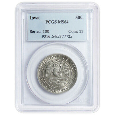 1946 50c Iowa Centennial Commemorative Silver Half Dollar PCGS MS64