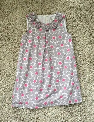 Mini Boden Girls Gray And Pink Dress. Size 7-8 Years.