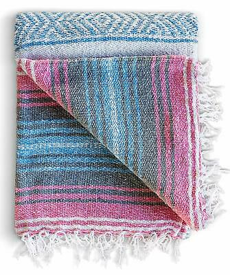 Mexican Blanket - Authentic Falsa Thick Soft Woven Acrylic Yoga Serape Throw