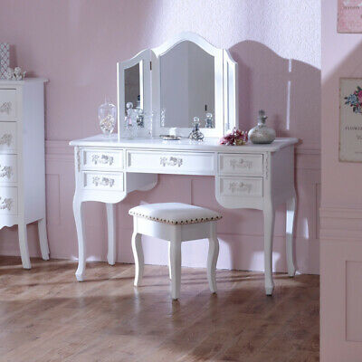 Antique White Wooden Dressing Table Set Mirror Stool Shabby French Chic Bedroom