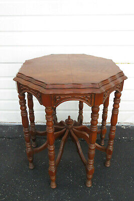 Early 1900s Hand Carved Walnut Octagon Top Center Side Table 9818