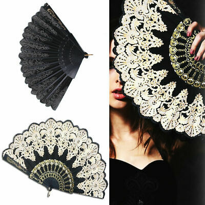 Folding Fan Spanish Style Flower Lace Hand Held Fan Wedding Dancing Party Gift