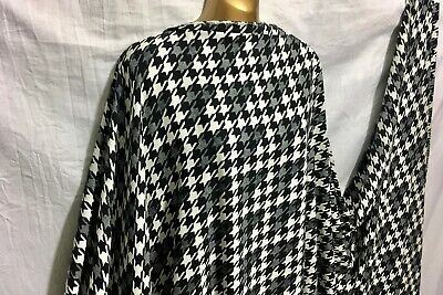 "Gold Black Dogtooth Printed Satin Dress Fabric Silky Trendy Craft 56/"" A1030"