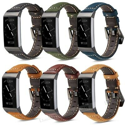 For Fitbit Charge 3/2 Replacement Genuine Leather Strap Wristband Band Bracelet