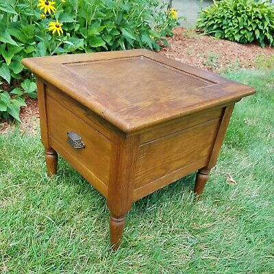 Vintage Refinished Antique Mission Oak Commode Chamber Pot Toilet Bathroom 1880s