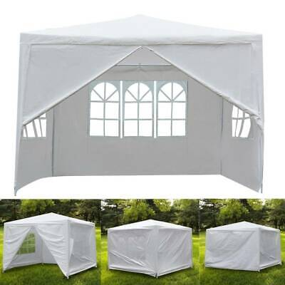 3x3m Garden Gazebo Pavilion Outdoor Marquee w/ Sides Party Wedding Tent Stall