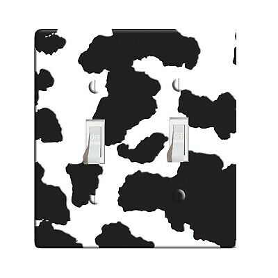 3D Printed Maxi Metal Black & White Cow - Light Switch / Outlet Cover D0104