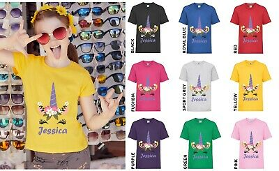 Personalised Unicorn Face Floral Crown Novelty Girls childrens kids t-shirt gift