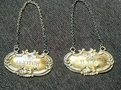 2 Vintage Sterling Silver Bottle Chain Tags Decanter Label Rye Scotch