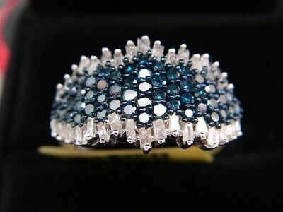 Blue, White Diamond Ring in Platinum Overlay Sterling Silver 1.000 cts sze S