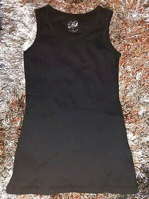 Girls Size 12 Solid Plain Black Sleeveless Tank Top Shirt By Justice Soft !!