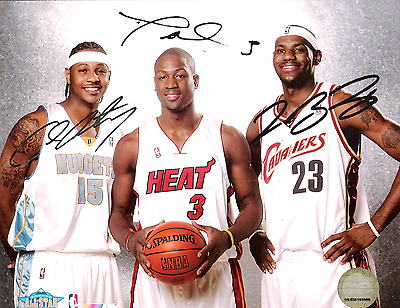 LeBron James, Dwyane Wade, & Carmelo Anthony  8 x10 Reprint Signed Photo.