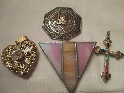 Vtg Sterling Mexican Pin - Iridescent Pin -Enamel Silver Cross -Heart Pendent