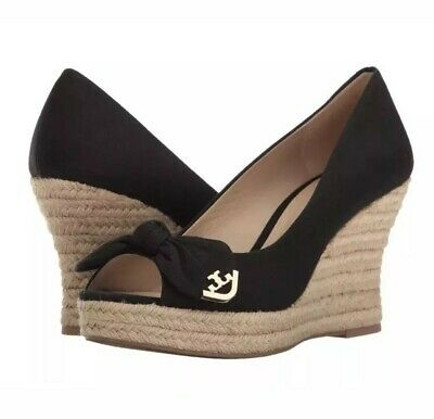 016dd89caa1 NIB TORY BURCH Dory 85mm Wedge Espadrille Black Canvas Bow Peep Toe $275 Sz  7.5