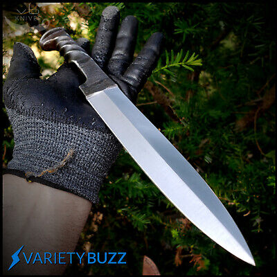 """12"""" Fixed Blade Hunting Knife TWISTED HAND FORGED CARBON STEEL SWORD Dagger NEW!"""