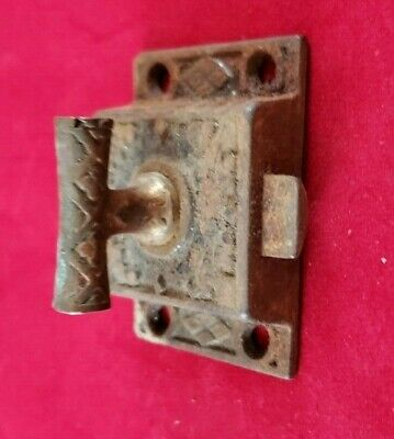 "Antique Victorian 2"" Door Cabinet Twist Latch Brass Vintage Cupboard Clasp"