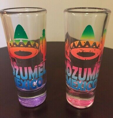Cozumel Mexico Tall Shot Glasses - Set of 2 Collectible Barware Multi-Colored