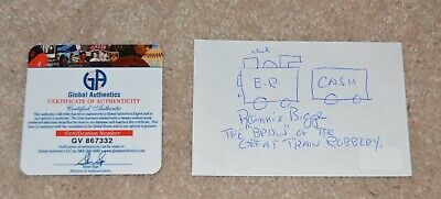 Ronnie Biggs Great Train Robbery 1963 Hand Signed Card With Message Drawing COA