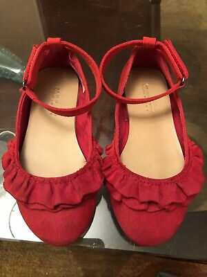 EUC Old Navy Toddler Girls Red Ankle Strap Ballet Flat Shoe Size 8