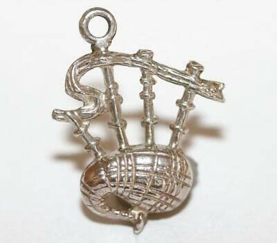 Scottish Bagpipes Sterling Silver 925 Vintage Bracelet Charm With Gift Box 1.2g