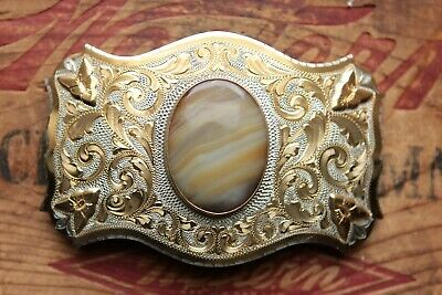 Vtg Comstock German Silver Gold Plated Arrows Agate Stone Western Belt Buckle