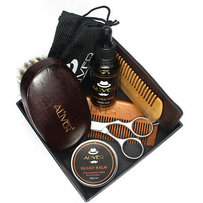 Beard Care Kit Tool Set Grooming Balm Oil Mustache Styling Supplies Travel Gift