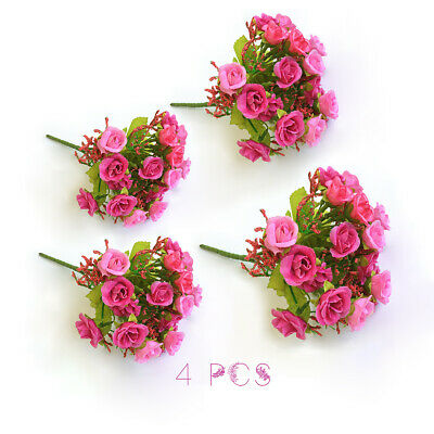 2/4/6PCS 1 Bouquet 21Têtes Artificielles Faux Rose Party Home Decor Soie Fleur