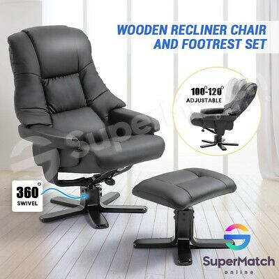 Home Office PU Leather Recliner Chair Armchair Lounge Sofa Ottoman w/Footrest AU